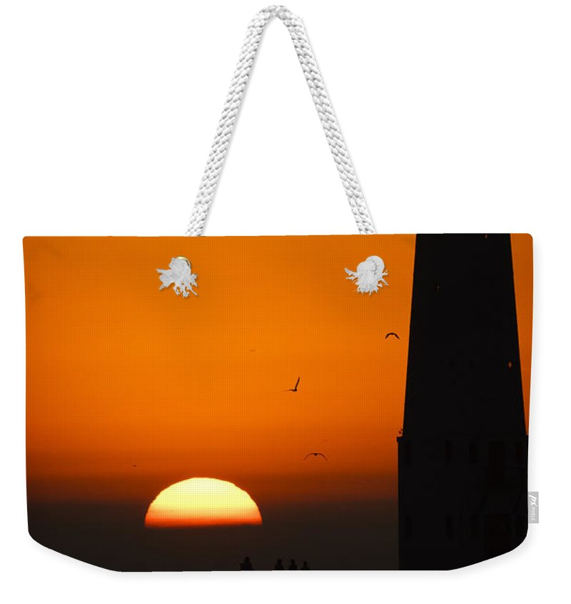 3scape Weekender Tote Bag featuring the photograph Sunset at Frankfort North Breakwater Lighthouse by Adam Romanowicz