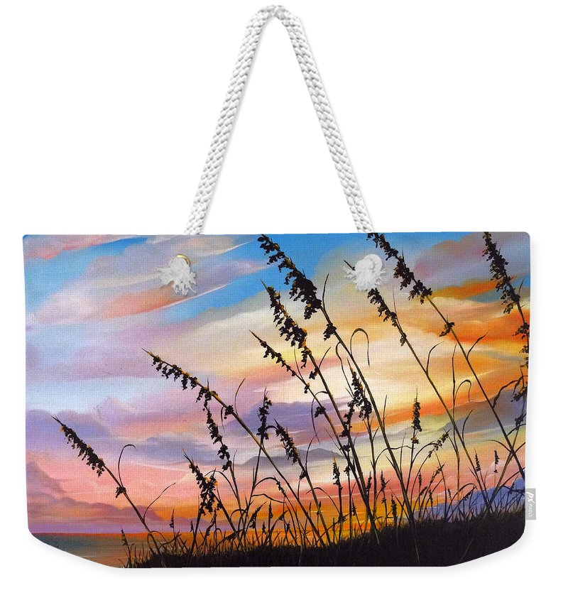 Ocean Painting Weekender Tote Bag featuring the painting Sunset Fort Desoto Beach by Karin Dawn Kelshall- Best