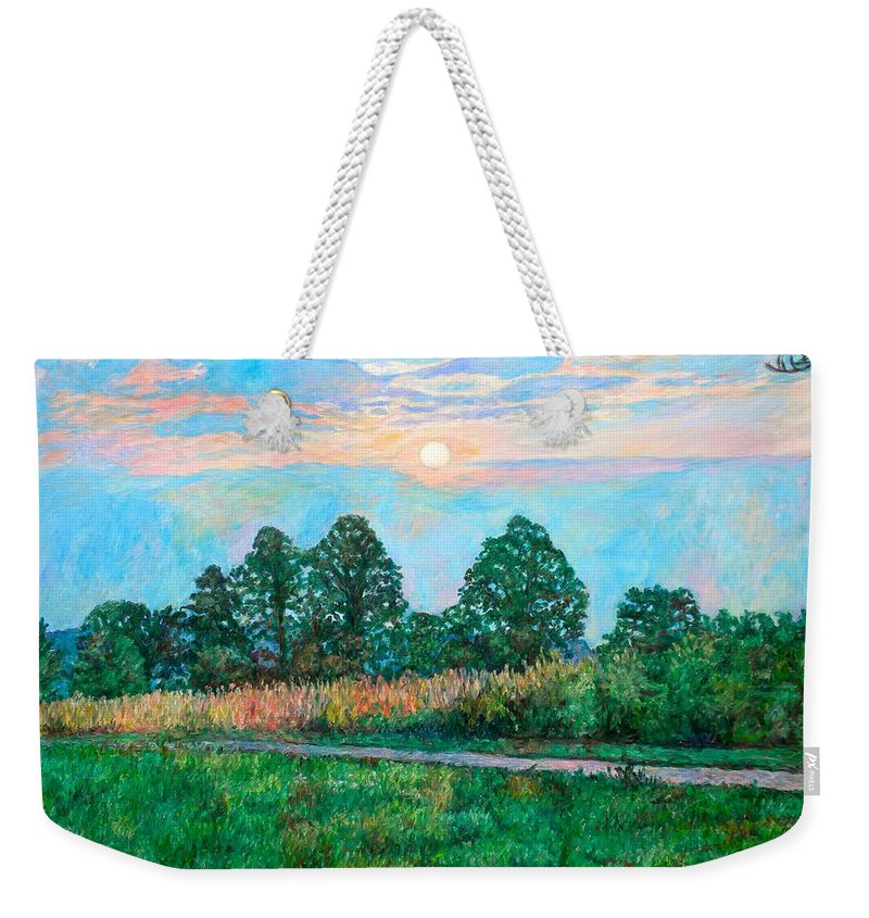 Kendall Kessler Weekender Tote Bag featuring the painting Sunset Near Fancy Gap by Kendall Kessler
