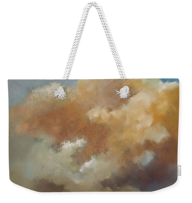 Clouds Weekender Tote Bag featuring the painting Sunset on city by Tomas Castano