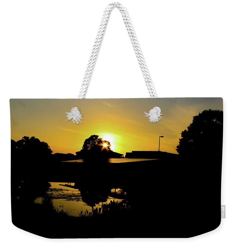 Landscape Weekender Tote Bag featuring the digital art Sunset over Building by Daniel Cornell