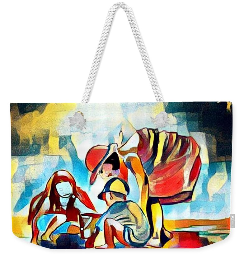 Provence Weekender Tote Bag featuring the mixed media Sur la plage en Provence by Rusty Gladdish