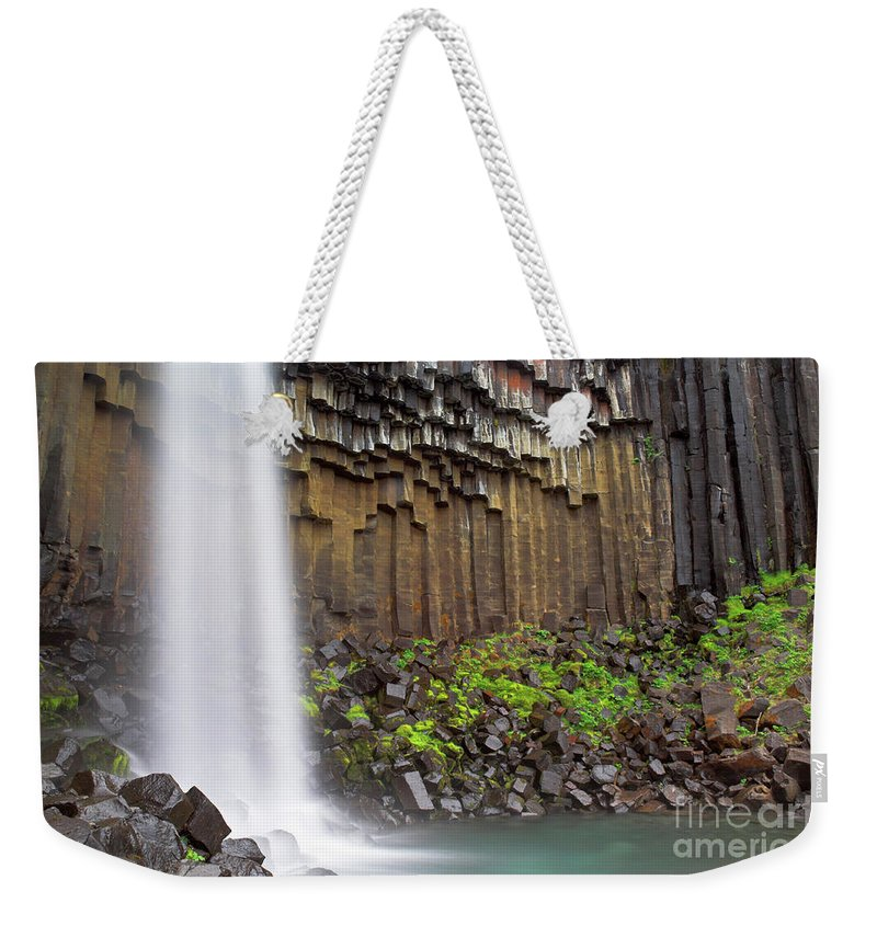 Icelandic Waterfall Weekender Tote Bag featuring the photograph Svartifoss Waterfall And Basalt Columns, Skaftafell National Park, Iceland by Neale And Judith Clark