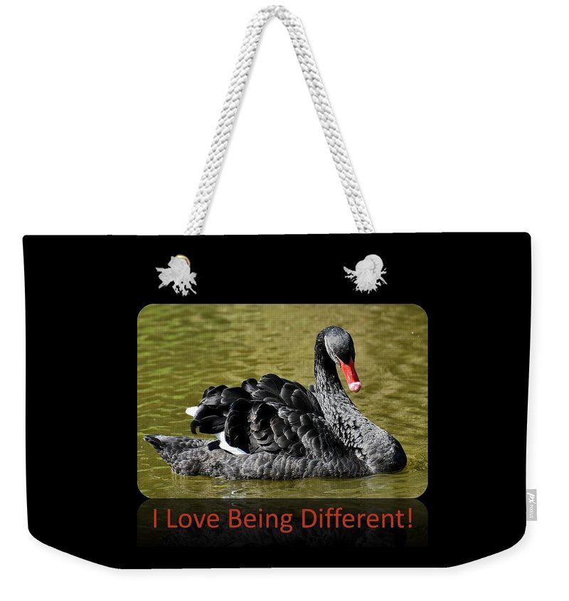 Swan Weekender Tote Bag featuring the photograph Swan I Love Being Different by Nancy Ayanna Wyatt and PixxlTeufel