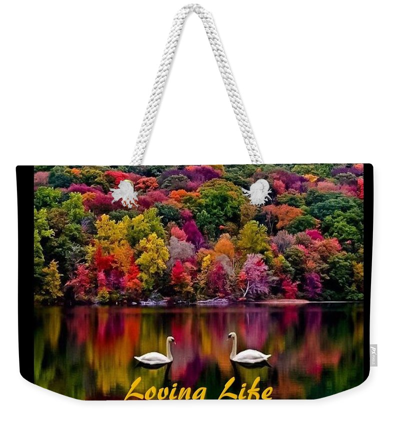 Swans Weekender Tote Bag featuring the photograph Swans Loving Life by Nancy Ayanna Wyatt and PixxlTeufel
