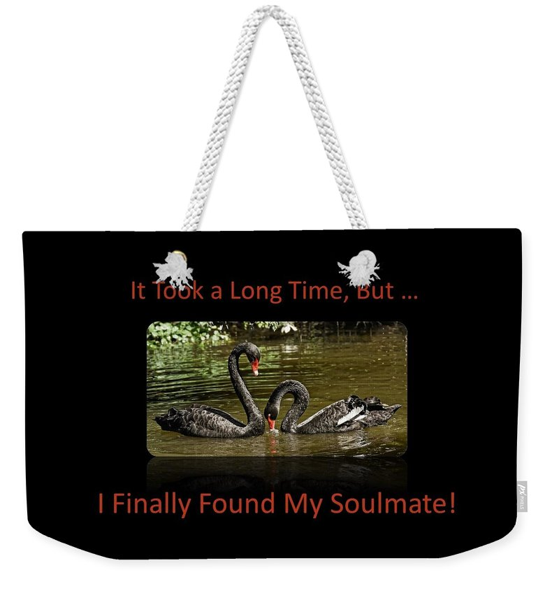 Swans Weekender Tote Bag featuring the photograph Swans Soulmates by Nancy Ayanna Wyatt and PixxlTeufel