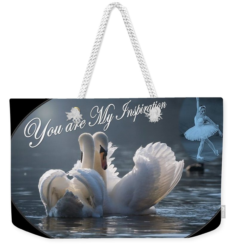 Swans Weekender Tote Bag featuring the photograph Swans You Are My Inspiration by Nancy Ayanna Wyatt and PixxlTeufel