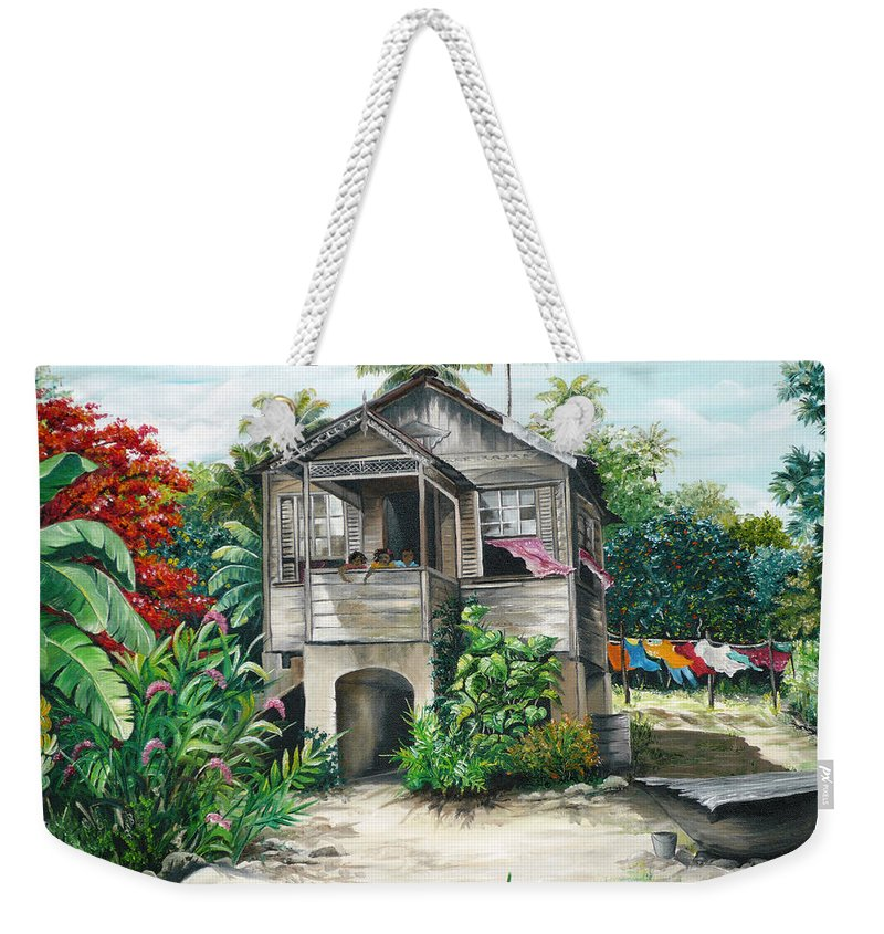 Landscape Painting Caribbean Painting House Painting Tobago Painting Trinidad Painting Tropical Painting Flamboyant Painting Banana Painting Trees Painting Original Painting Of Typical Country House In Trinidad And Tobago Weekender Tote Bag featuring the painting Sweet Island Life by Karin Dawn Kelshall- Best
