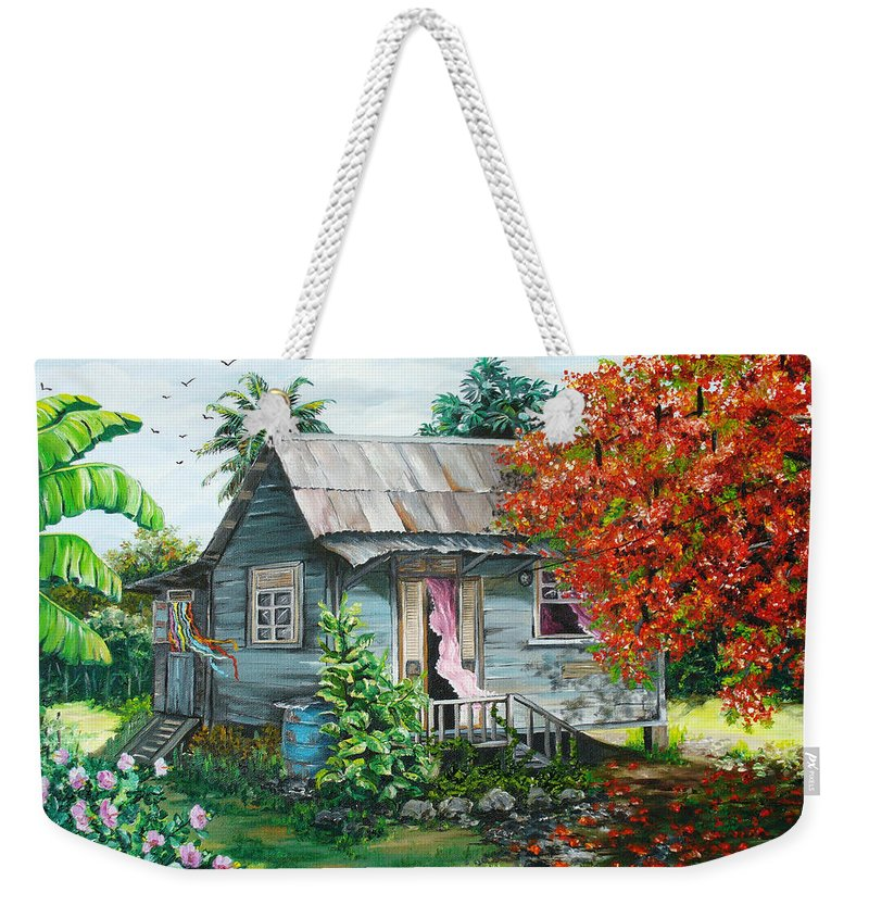 Caribbean Painting Original Painting Trinidad And Tobago ..house Painting Flamboyant Tree Painting Red Blossoms Painting Floral Painting Tree Painting Tropical Painting Weekender Tote Bag featuring the painting Sweet Tobago Life. 2 by Karin Dawn Kelshall- Best