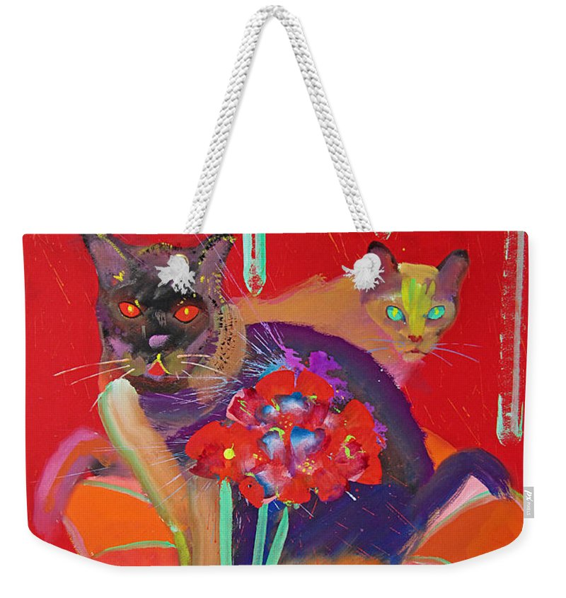 Burmese Cat Weekender Tote Bag featuring the painting Symphony In Red Two by Charles Stuart