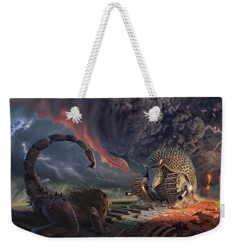 Elp Weekender Tote Bag featuring the digital art Tarkus Legacy 1-Battlefield by Jerry LoFaro
