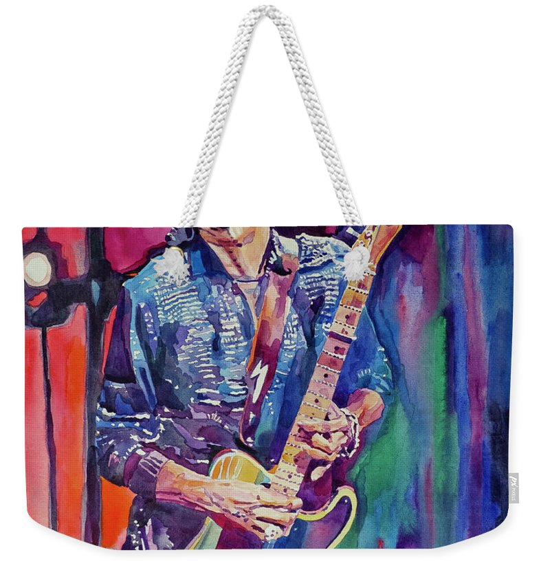 Keith Richards Weekender Tote Bag featuring the painting Telecaster- Keith Richards by David Lloyd Glover