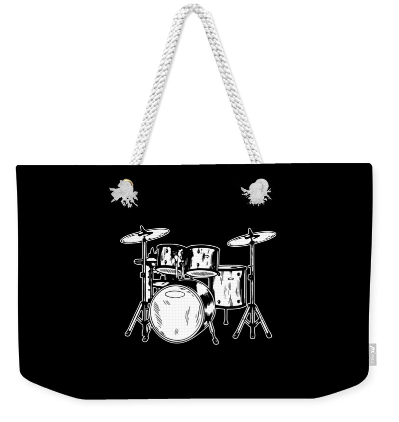 Drummer Weekender Tote Bag featuring the digital art Tempo Music Band Percussion Drum Set Drummer Gift by Haselshirt