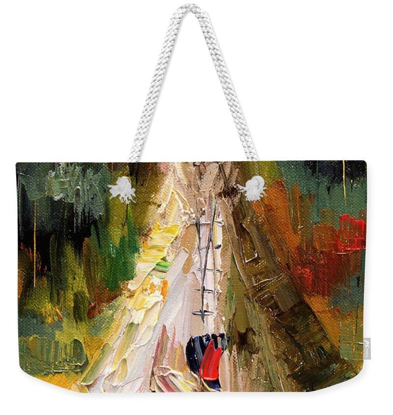 Western Art Weekender Tote Bag featuring the painting Tempting Tepee by Diane Whitehead