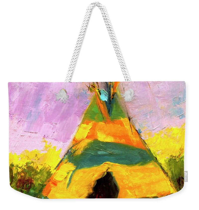 Western Art Weekender Tote Bag featuring the painting Tequila Tepee by Diane Whitehead