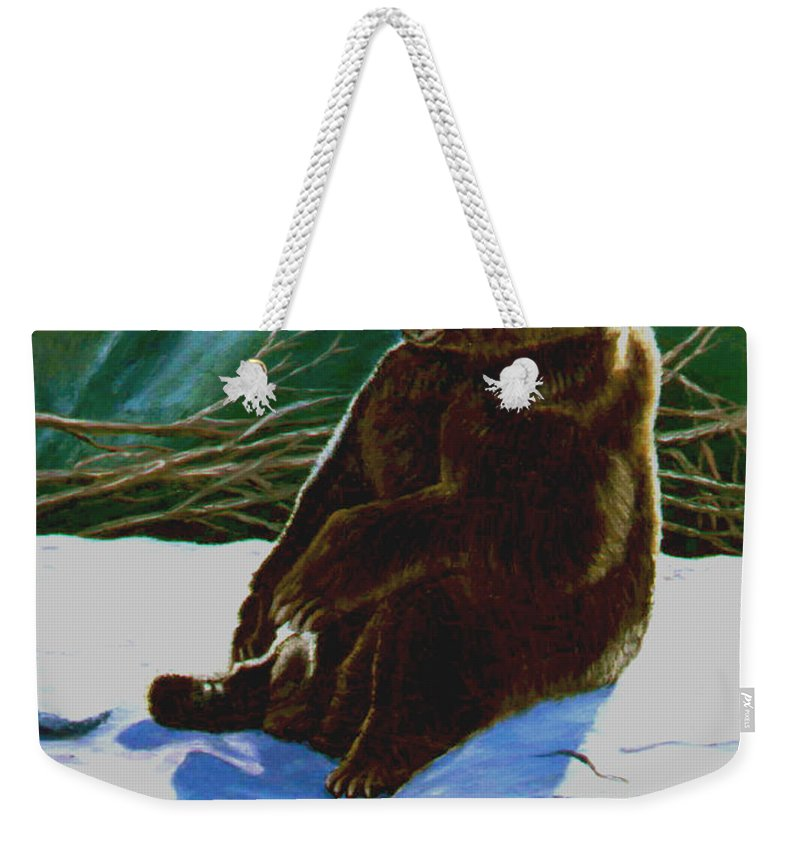 Original Oil On Canvas Weekender Tote Bag featuring the painting The Bear by Stan Hamilton