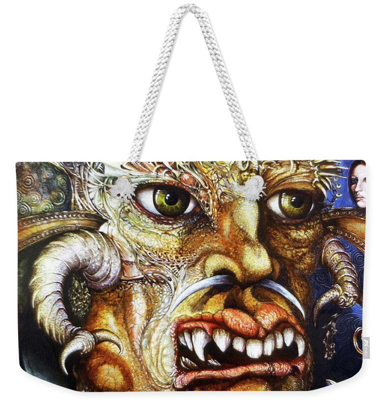 Surrealism Fantastic+realism Mythology Myth Beast Religion Weekender Tote Bag featuring the painting The Beast Of Babylon II by Otto Rapp