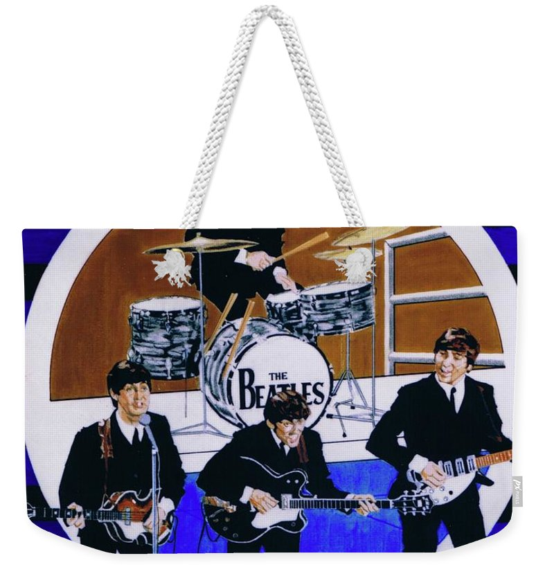 The Beatles Live Weekender Tote Bag featuring the drawing The Beatles - Live On The Ed Sullivan Show by Sean Connolly