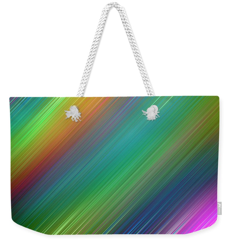 Rainbow Weekender Tote Bag featuring the digital art The colours of the rainbow by Maria Rzeszotarska