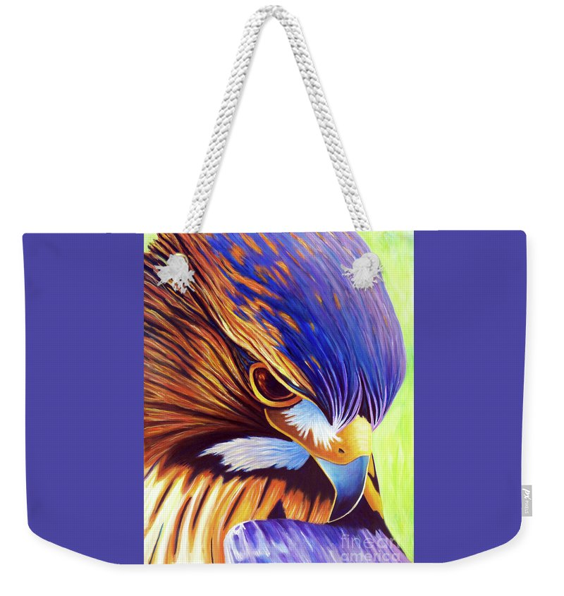 Hawk Weekender Tote Bag featuring the painting The Fire Within by Brian Commerford