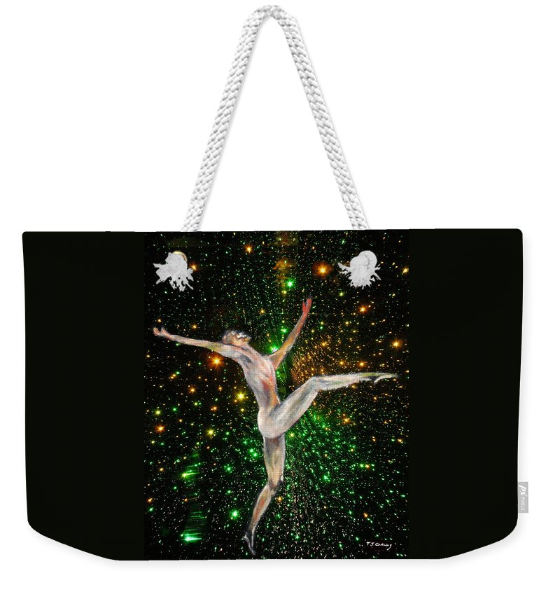 Dance Weekender Tote Bag featuring the painting The Light Fantastic Dance and Stars by Tom Conway