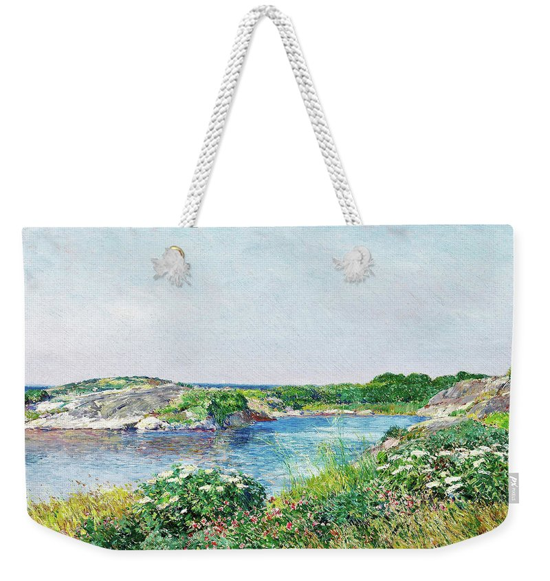 The Little Pond Weekender Tote Bag featuring the painting The Little Pond, Appledore - Digital Remastered Edition by Frederick Childe Hassam
