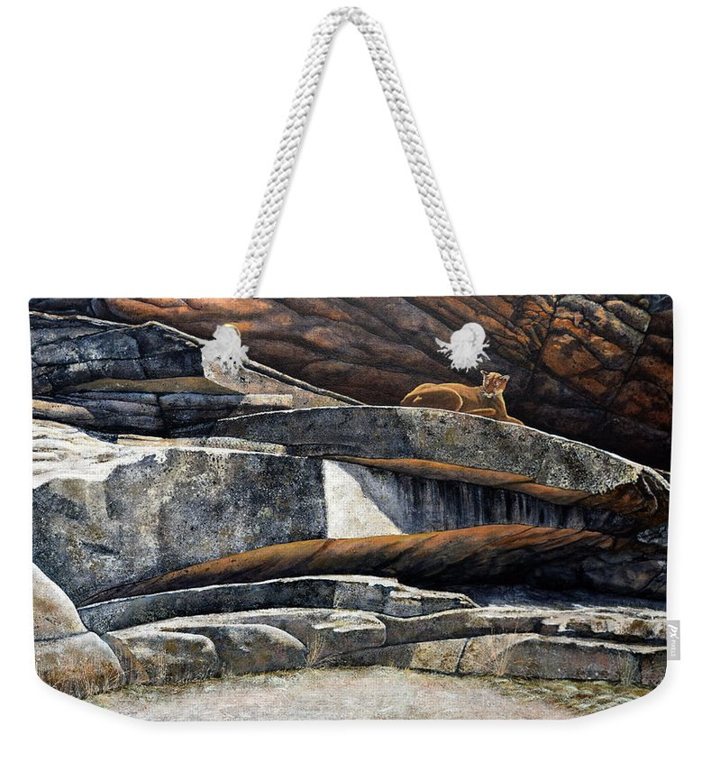 Wildlife Weekender Tote Bag featuring the painting The Loner Cougar by Frank Wilson