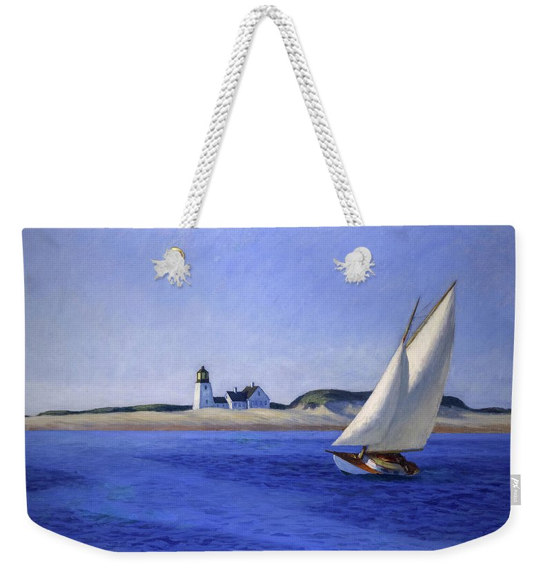 Edward Hopper Weekender Tote Bag featuring the painting The Long Leg by Edward Hopper