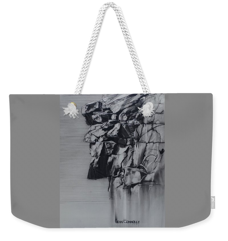 Charcoal On Paper Weekender Tote Bag featuring the drawing The Old Man Of The Mountain by Sean Connolly