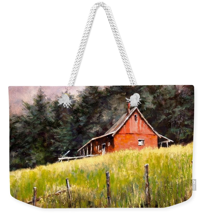 Landscape Weekender Tote Bag featuring the painting The Red Coach Stop by Jim Gola
