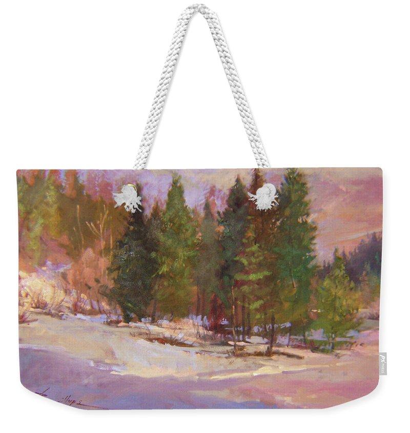Plein Air Painting Weekender Tote Bag featuring the painting The Road Home Plein Air by Betty Jean Billups