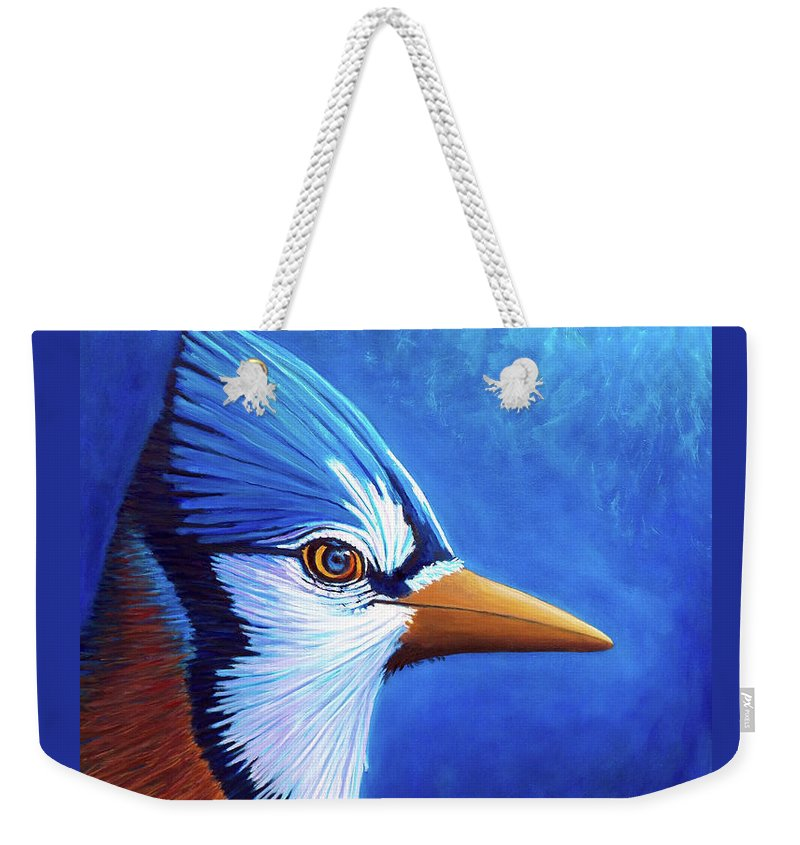 Blue Jay Weekender Tote Bag featuring the painting The Road Less Traveled by Brian Commerford