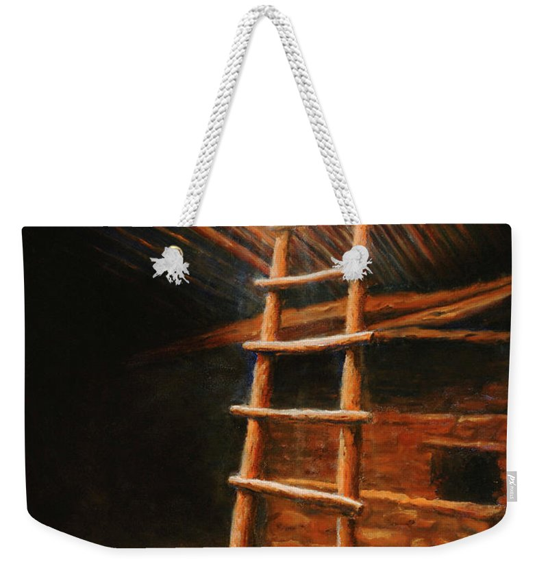 Kiva Weekender Tote Bag featuring the painting The Second World by Jerry McElroy