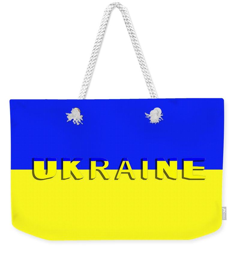 Ukraine Weekender Tote Bag featuring the digital art The state flag of Ukraine by Maria Rzeszotarska