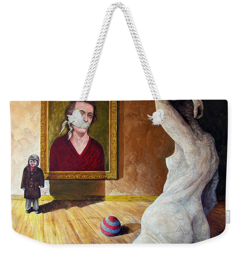 Surrealism Weekender Tote Bag featuring the painting The Visitor by Otto Rapp