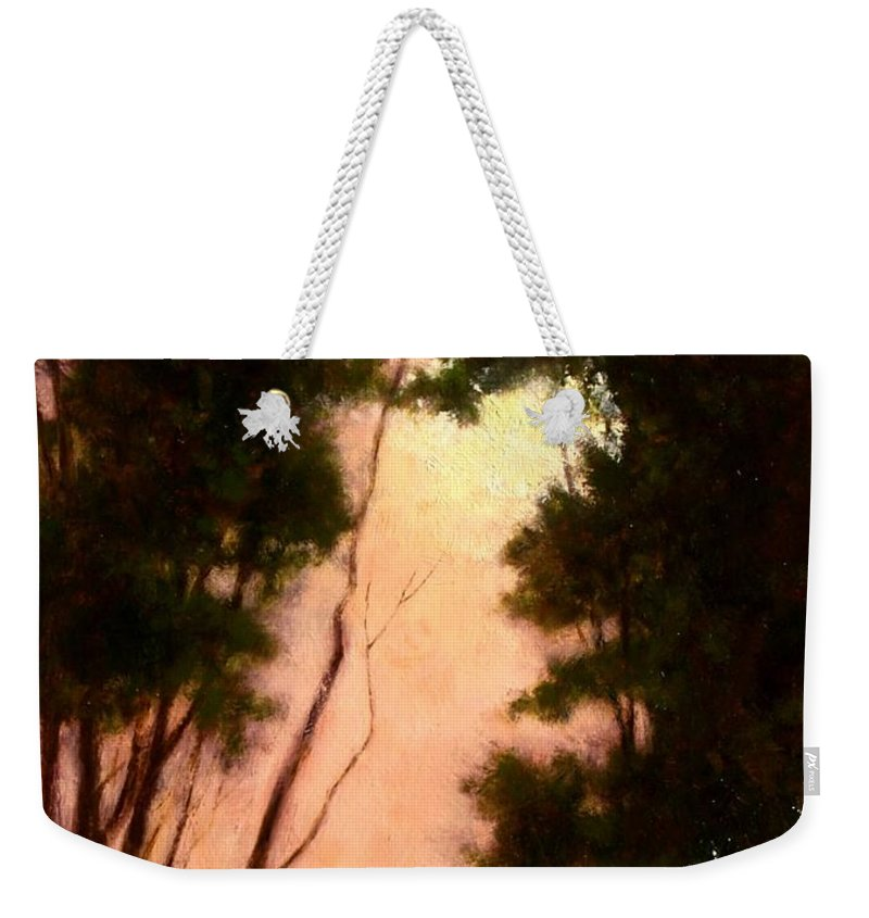 Landscape. Oil Painting Weekender Tote Bag featuring the painting The Walk Home by Jim Gola