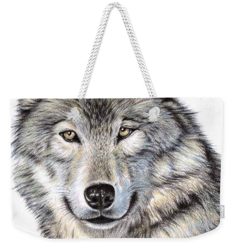 Wolf Weekender Tote Bag featuring the drawing The Wolf by Nicole Zeug