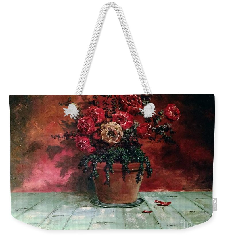 Still Life Weekender Tote Bag featuring the painting The Yellow Rose by Lee Piper