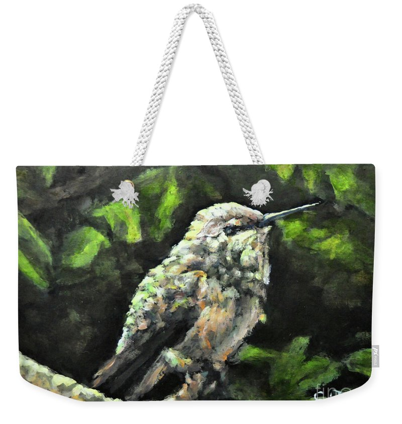 Hummingbird Weekender Tote Bag featuring the painting This Hummingbird Loves my Green Tree Maple by Eileen Fong
