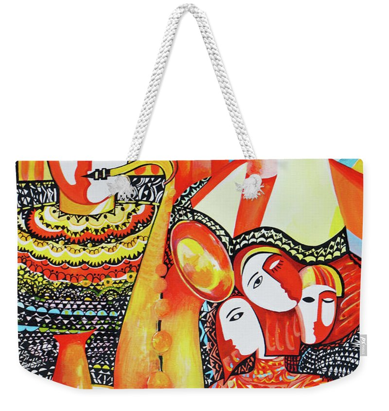 Nude Weekender Tote Bag featuring the painting Three Faces,18x24 by Zorina Kunkina