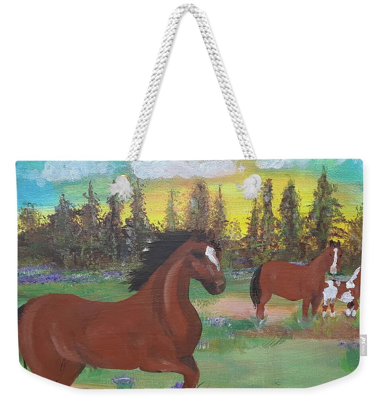 Horses Weekender Tote Bag featuring the painting Three horses in central Florida Field by Jorge Delara