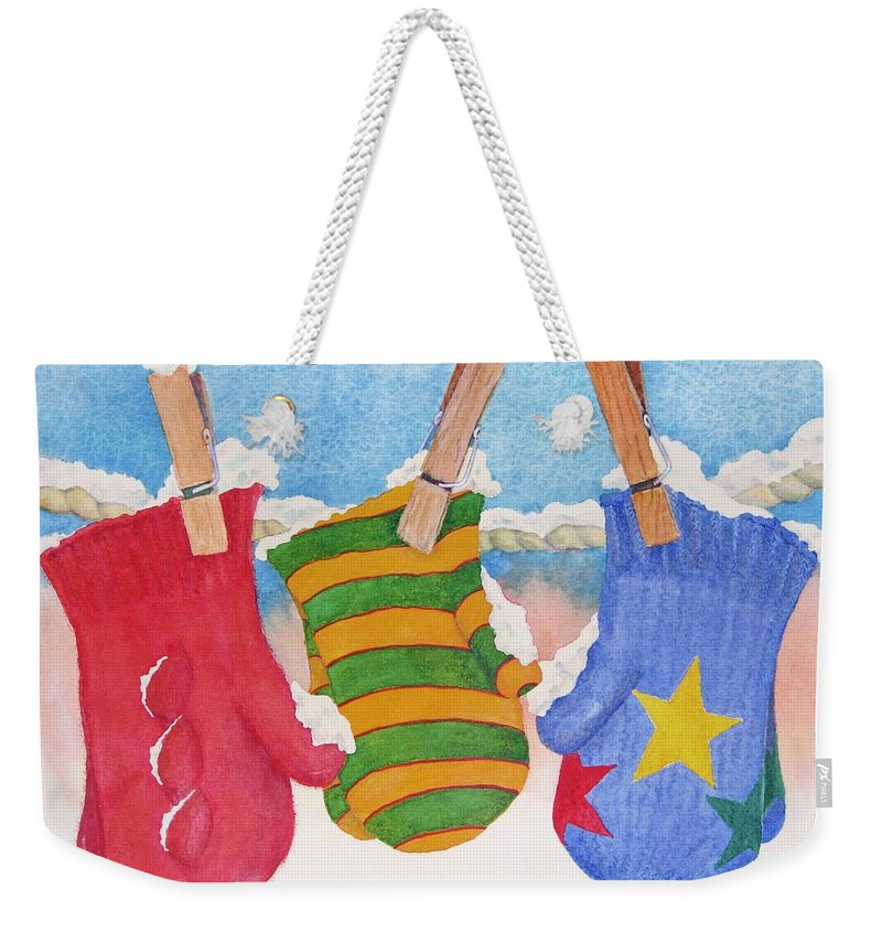 Christmas Card Weekender Tote Bag featuring the painting Three Little Mittens by Mary Ellen Mueller Legault