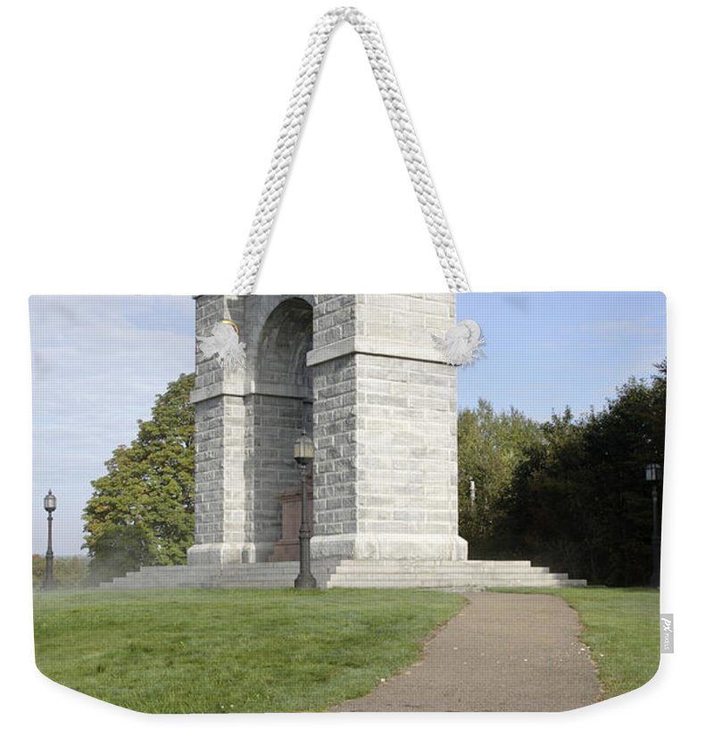 Landscape Weekender Tote Bag featuring the photograph Titus Arch Replica - Northfield NNew Hampshire by Erin Paul Donovan