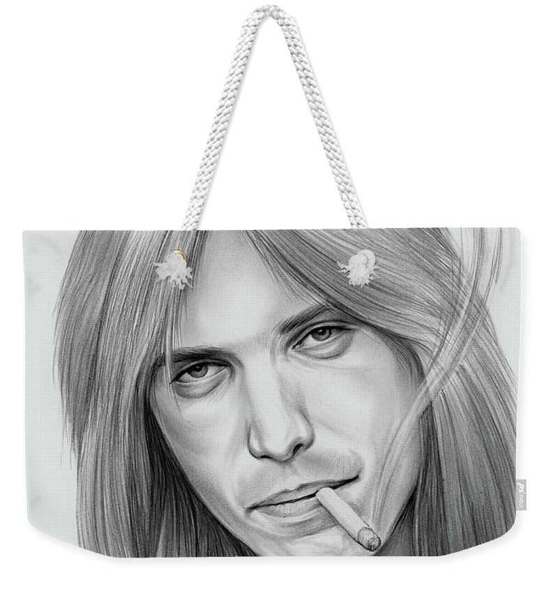Tom Petty Weekender Tote Bag featuring the drawing Tom Petty - Pencil by Greg Joens