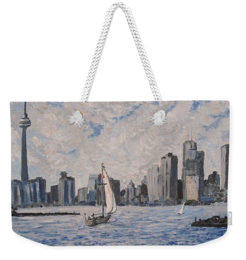 Toronto Weekender Tote Bag featuring the painting Toronto Harbor East Gap by Ian MacDonald
