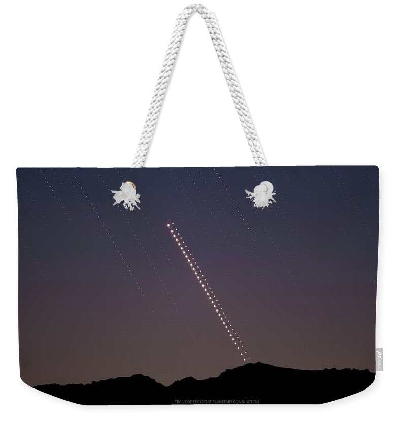Weekender Tote Bag featuring the photograph Trails of the Great Planetary Conjunction by Prabhu Astrophotography