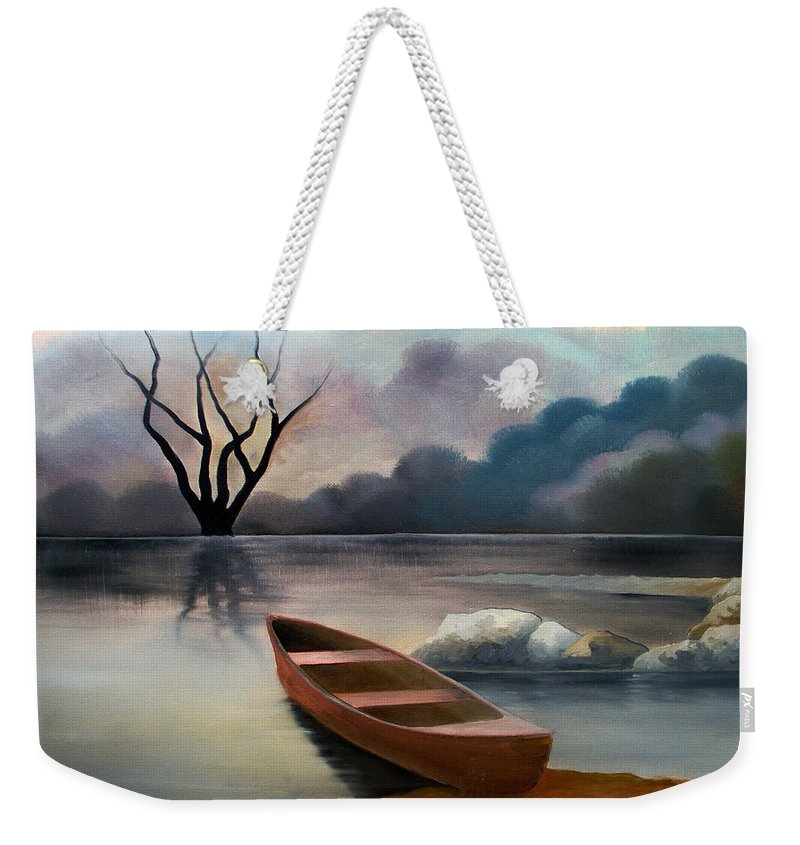 Duck Weekender Tote Bag featuring the painting Tranquility by Sergey Bezhinets