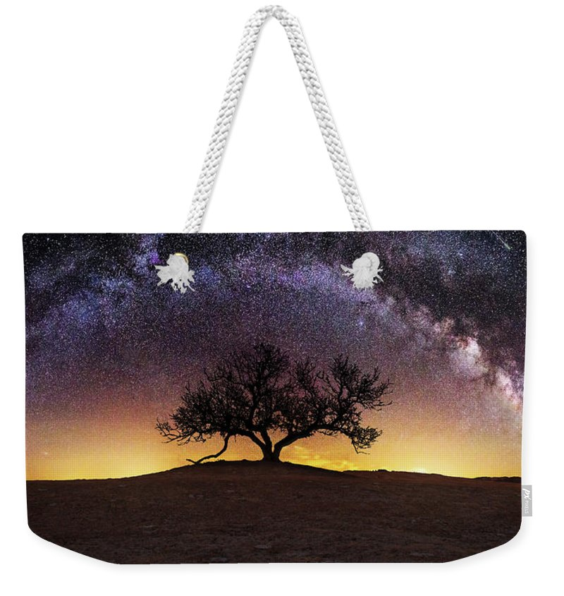 Milky Way Weekender Tote Bag featuring the photograph Tree of Wisdom by Aaron J Groen