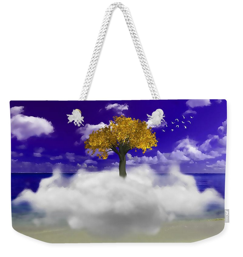 Beach Weekender Tote Bag featuring the mixed media Tree On A Cloud by Marvin Blaine