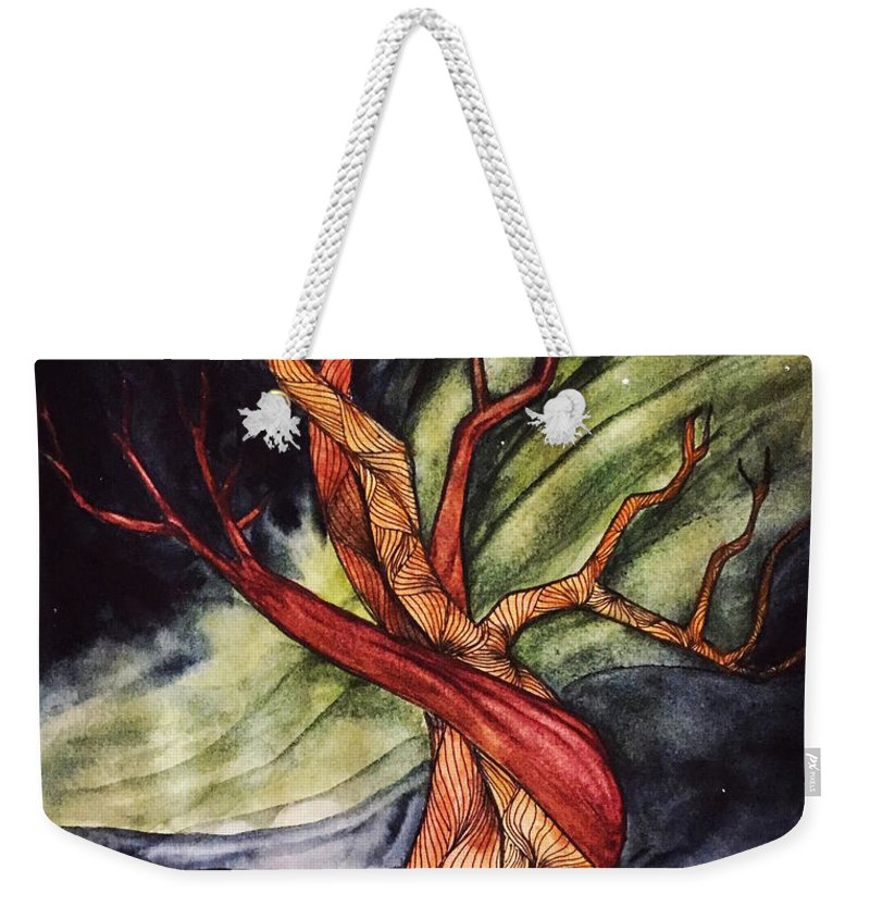 Tree Weekender Tote Bag featuring the painting Tree with Northern Lights by Vonda Drees
